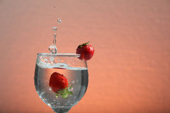 Fresh water with strawberry in glass Royalty Free Stock Photo