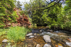 Fresh water stream at Allens Bend trail at Sedona. Fresh water stream at the Allens Bend trail at Grasshopper point area in Sedona Stock Images