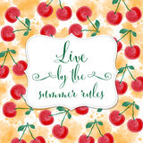 Fresh watercolor summer background with message Royalty Free Stock Photo