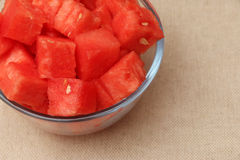 Fresh Watermelon on Burlap Background Royalty Free Stock Image