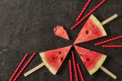 Fresh watermelon cut into pieces on dark background stock image