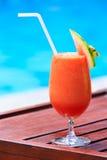Fresh watermelon juice cocktail near the pool Royalty Free Stock Photos