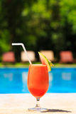 Fresh watermelon juice cocktail near the pool Stock Photography