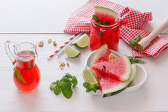 Fresh watermelon with juice and pistachio Stock Image