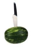 Fresh watermelon with kitchen knife Stock Photos