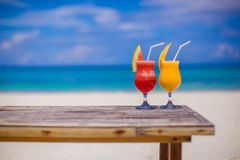 Fresh watermelon and mango cocktails on woodem royalty free stock photos