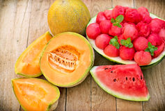 Fresh watermelon (melon) and cantaloupe Royalty Free Stock Images