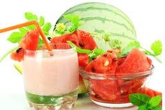 Fresh watermelon milkshake with fruit Stock Photo