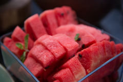 Fresh watermelon pieces in glass bowl Stock Images