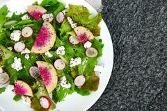 Fresh Watermelon Radish salad. Vegan, vegetarian, clean eating, dieting, food concept. Fresh Watermelon Radish salad with arugula feta, chia  on black background stock photography