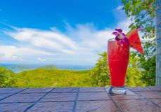 Fresh watermelon shake and panorama view royalty free stock images