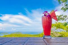 Fresh watermelon shake and panorama view royalty free stock photography