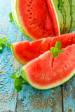 Fresh watermelon sliced  close up on the table Stock Photo