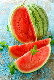 Fresh watermelon sliced  close up on the table Royalty Free Stock Photography