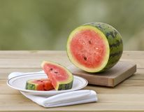 Fresh watermelon with slices royalty free stock photo