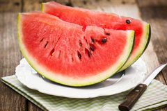 Fresh watermelon slices stock photography