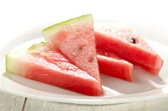Fresh watermelon slices on a plate Stock Photos