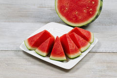 Fresh Watermelon Slices Ready to Eat Royalty Free Stock Photos