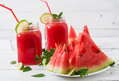 Fresh watermelon smoothies with lime and mint Stock Photography