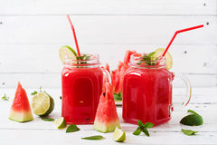 Fresh watermelon smoothies with lime and mint Royalty Free Stock Photos