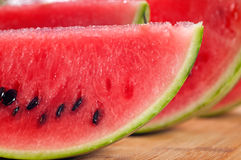 Fresh watermelon on a  wood table Stock Image