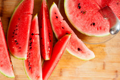 Fresh watermelon on a  wood table Royalty Free Stock Photo
