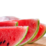 Fresh watermelon on a  wood table Royalty Free Stock Photos