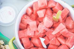 Fresh Watermelon. Yummy juicy watermelon cubes for snacks Royalty Free Stock Images