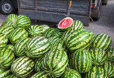 Fresh watermelons for sale at the farmers market Royalty Free Stock Images