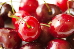 Fresh wet cherries Royalty Free Stock Photos
