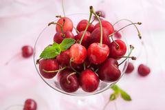 Fresh wet cherry in a glass Stock Image