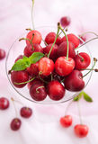 Fresh wet cherry in a glass Royalty Free Stock Image