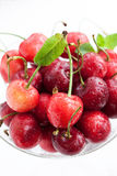 Fresh wet cherry in a glass, Stock Photo
