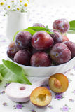 Fresh wet plums with leaves in the bowl on the vin Stock Image