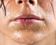 Fresh and wet young woman. Mouth portrait Stock Photography