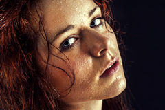 Fresh and wet young woman. Portrait Royalty Free Stock Image
