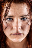 Fresh and wet young woman. Portrait Stock Image