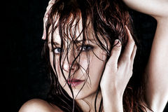 Fresh and wet young woman. Portrait Stock Images