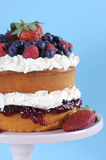 Fresh whipped cream and berries layer sponge cake - vertical. Royalty Free Stock Images