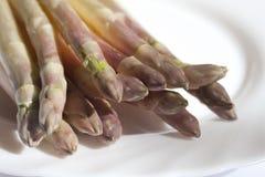 Fresh white  Asparagus. On white plate Royalty Free Stock Photo