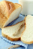 Fresh white bread with milk stock photo