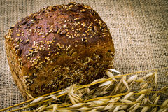 Fresh white bread and oats Stock Photography