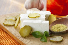 fresh white cheese and vegetables Royalty Free Stock Images