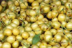 Fresh white cherries natura whitel cherry to background on the street market Royalty Free Stock Photos