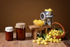 Fresh white cherry and jam Royalty Free Stock Photo