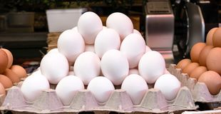 Fresh White Chicken Eggs Stack on Cardboard for Sale on a Market royalty free stock photo