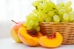 Fresh white grapes in basket Royalty Free Stock Images