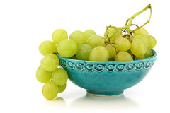 Fresh white grapes in a decorated turquoise bowl Stock Photos