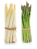 Fresh white and green asparagus bunch vegetable isolated Stock Photography