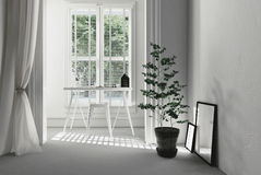 Fresh white home office interior Royalty Free Stock Photos